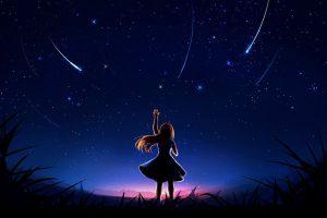 девушка и звездное небо
